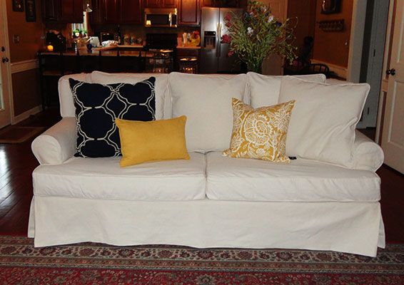 White Denim Slipcover Pillow Back Sofa