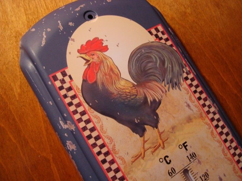 Good RISE U0026 SHINE ROOSTER INDOOR OUTDOOR THERMOMETER Chicken Farm Kitchen Home  Decor