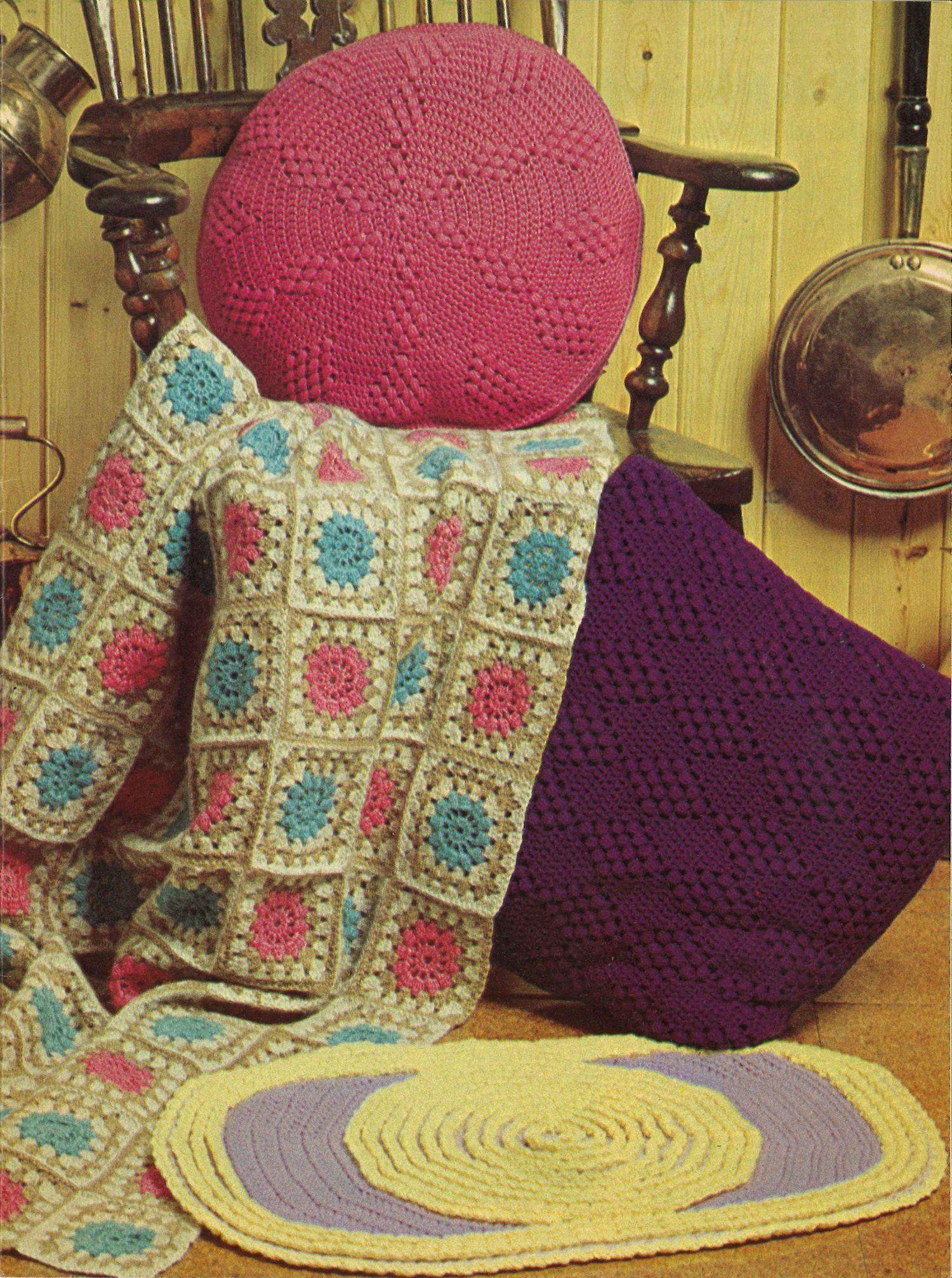 Home Hugs • 1970s Crochet Pillow Blanket Afghan Bathmat Pattern — Starshop Vintage
