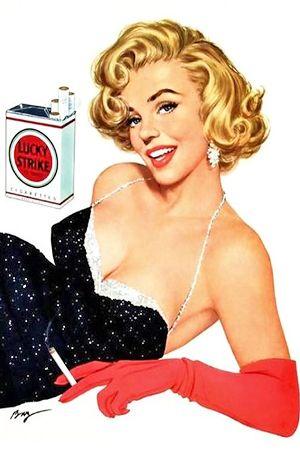 1950s: Marilyn Monroe magazine advert Lucky Strike cigarettes .... #normajeane #vintagemagazine #pinup #iconic #raremagazine #magazinecover #hollywoodactress #monroe #marilyn #1950s