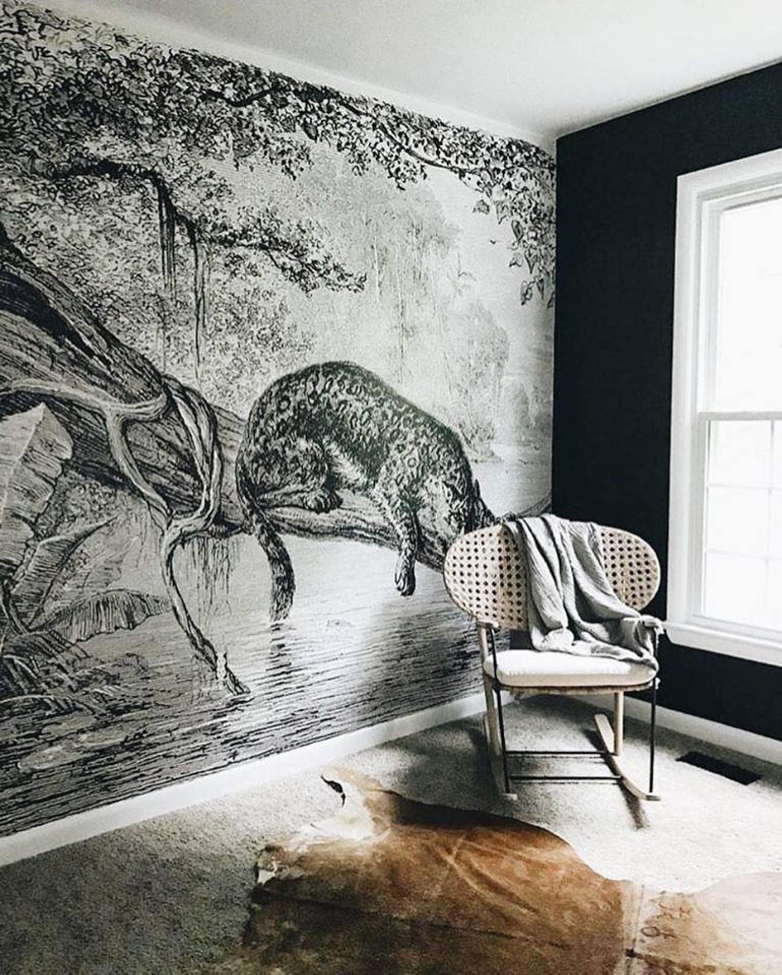 Jaguar Wallpaper Safari Nursery Decor Vintage Etsy in