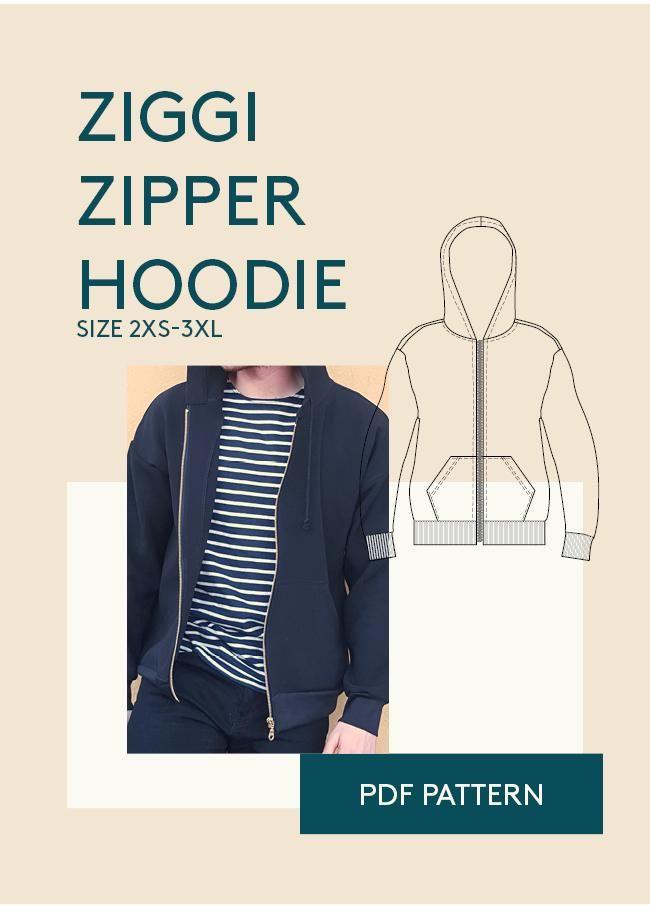 Ziggi Zipper Hoodie Sewing Pattern | Männer und Schnittmuster