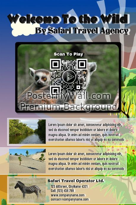 Flyer And Poster For Travel Agency With A Video Qr Code  Small