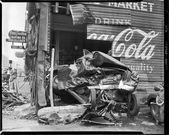 Old Car Accidents – Car Crashed Through Building – Coca-Cola Sign on Side – 1940…