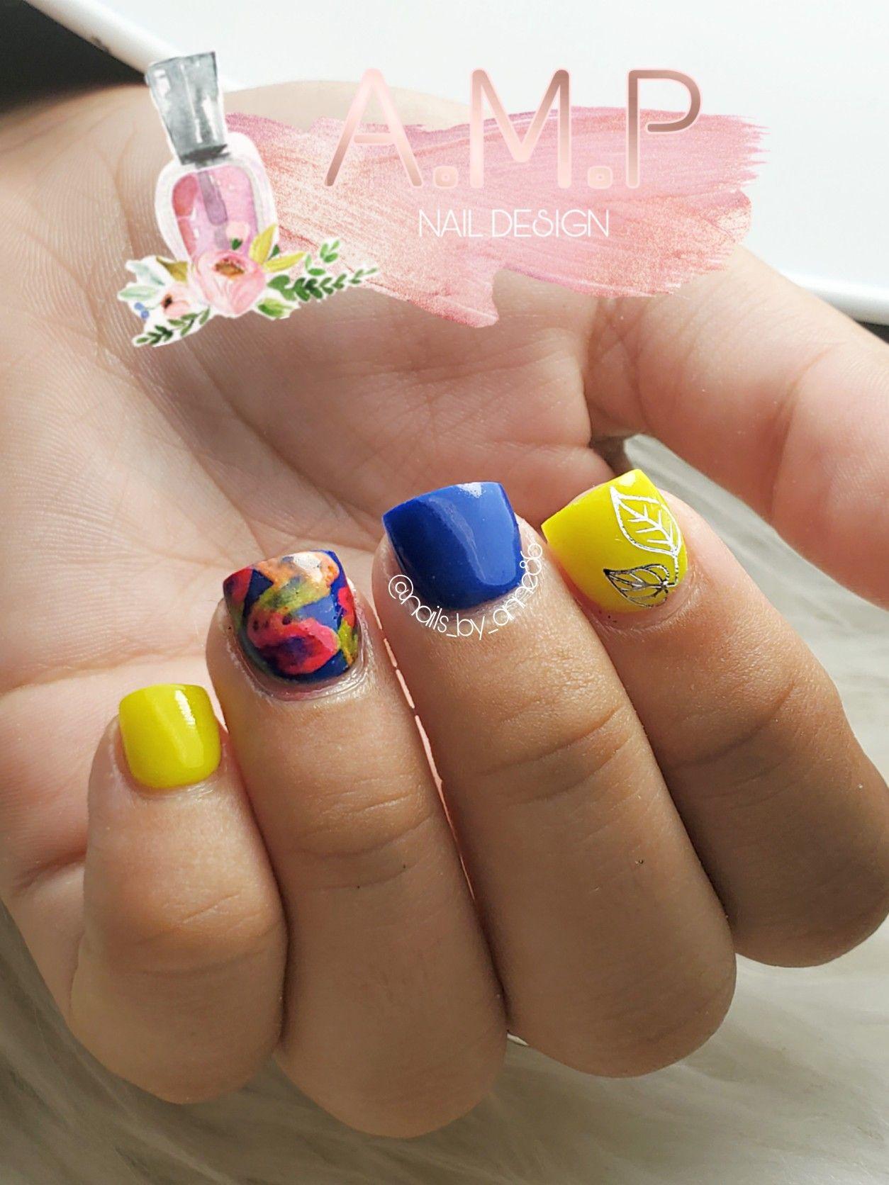 Neon Yellow And Blue Nails Nails Blue Nails Acrylic Nails