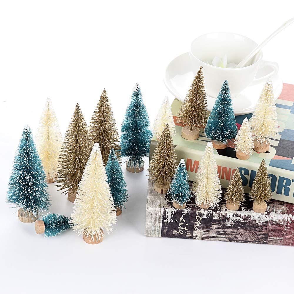 24Pcs Tabletop Christmas Pine Tree Xmas Mini Snow Tree Small Decoration Gifts