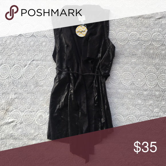 Black faux leather and suede vest Great accent piece to dress up and tee or dressy top- super soft black faux leather/suede! Rockstar✌️️ Jackets & Coats Vests