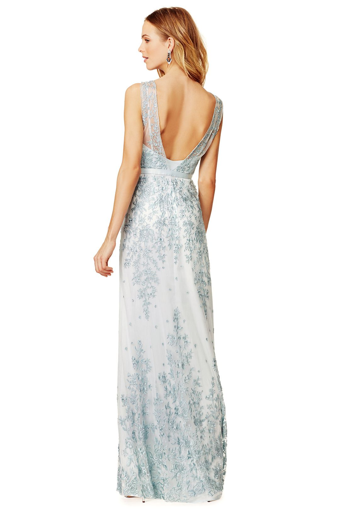 powder blue floor length gown in romantic lace // CATHERINE DEANE Aqua Amira Gown