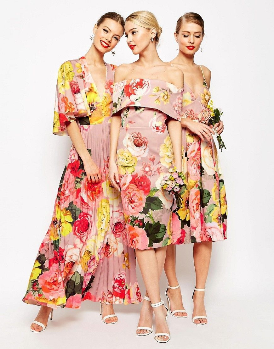 Floral print wedding dresses  Image  of ASOS TALL WEDDING Bardot Midi Dress in Floral Print