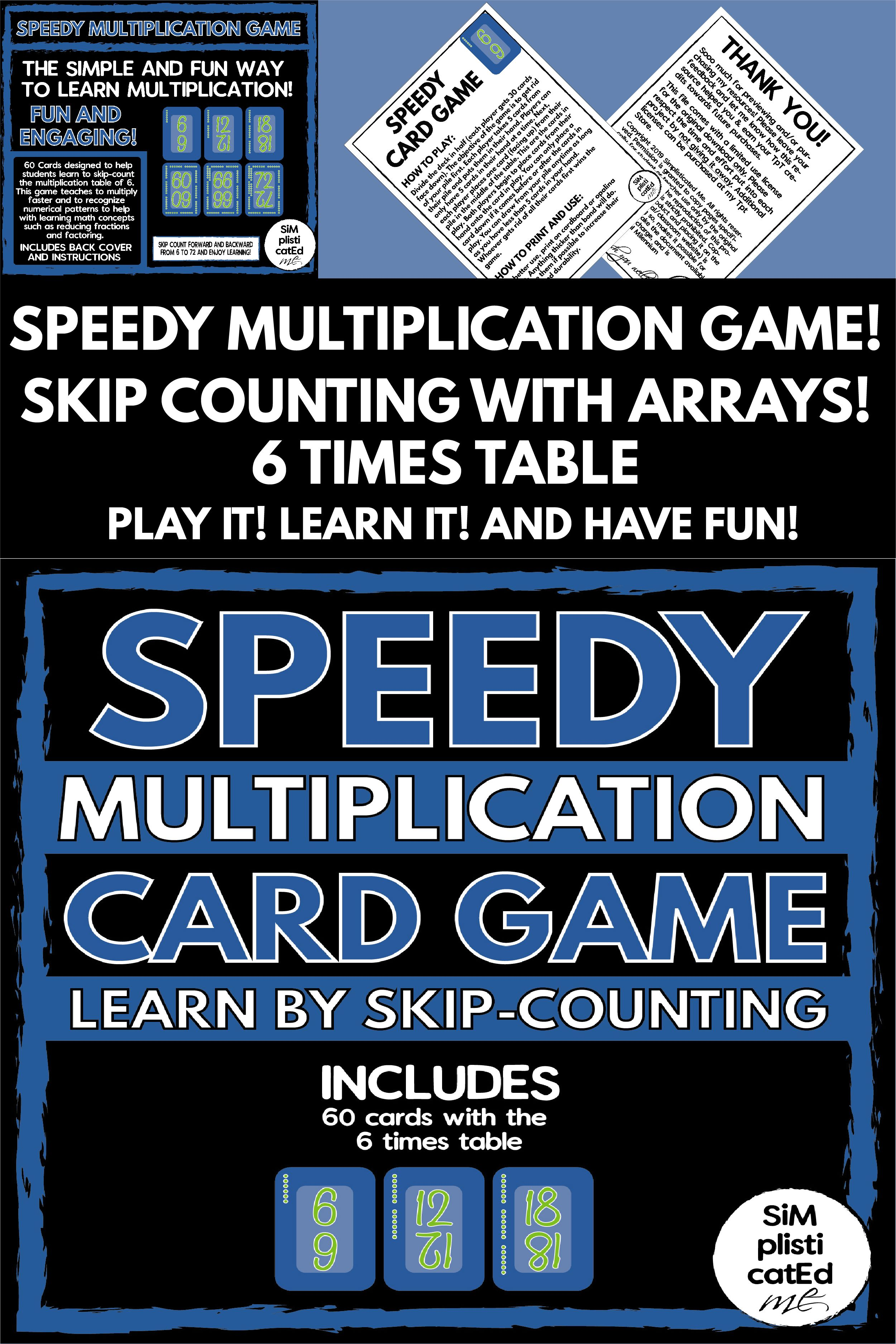 Speedy The Multiplication Card Game 6 Times Table Skip Counting Arrays Multiplication Cards Teaching Multiplication Card Games [ 3751 x 2501 Pixel ]