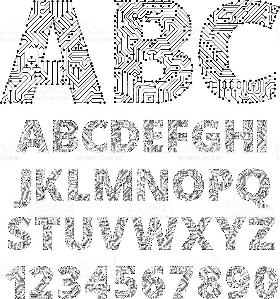 Internet connections circuit board vector font design. This royalty...