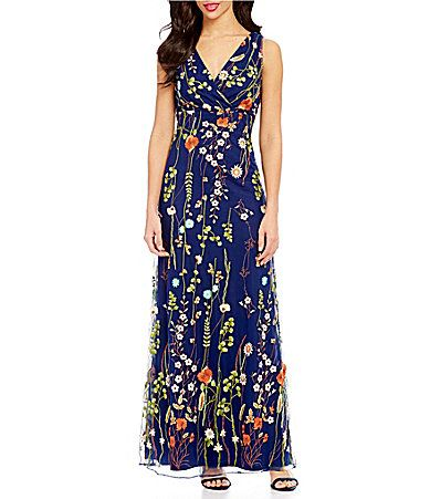 b99218b469e Leslie Fay Sleeveless Floral Embroidered Maxi Dress  Dillards