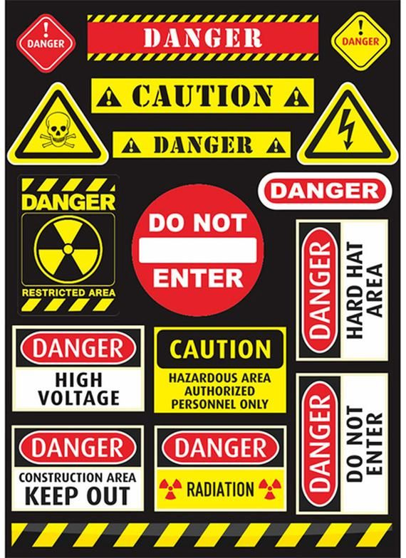 Caution Sign Sticker Danger Sign Sticker 17pcs Laptop Sticker Suitcase Sticker Skateboard Sticker Decorative Sticker Gift Packaging Placas De Transito Papeis De Parede Legais Dioramas