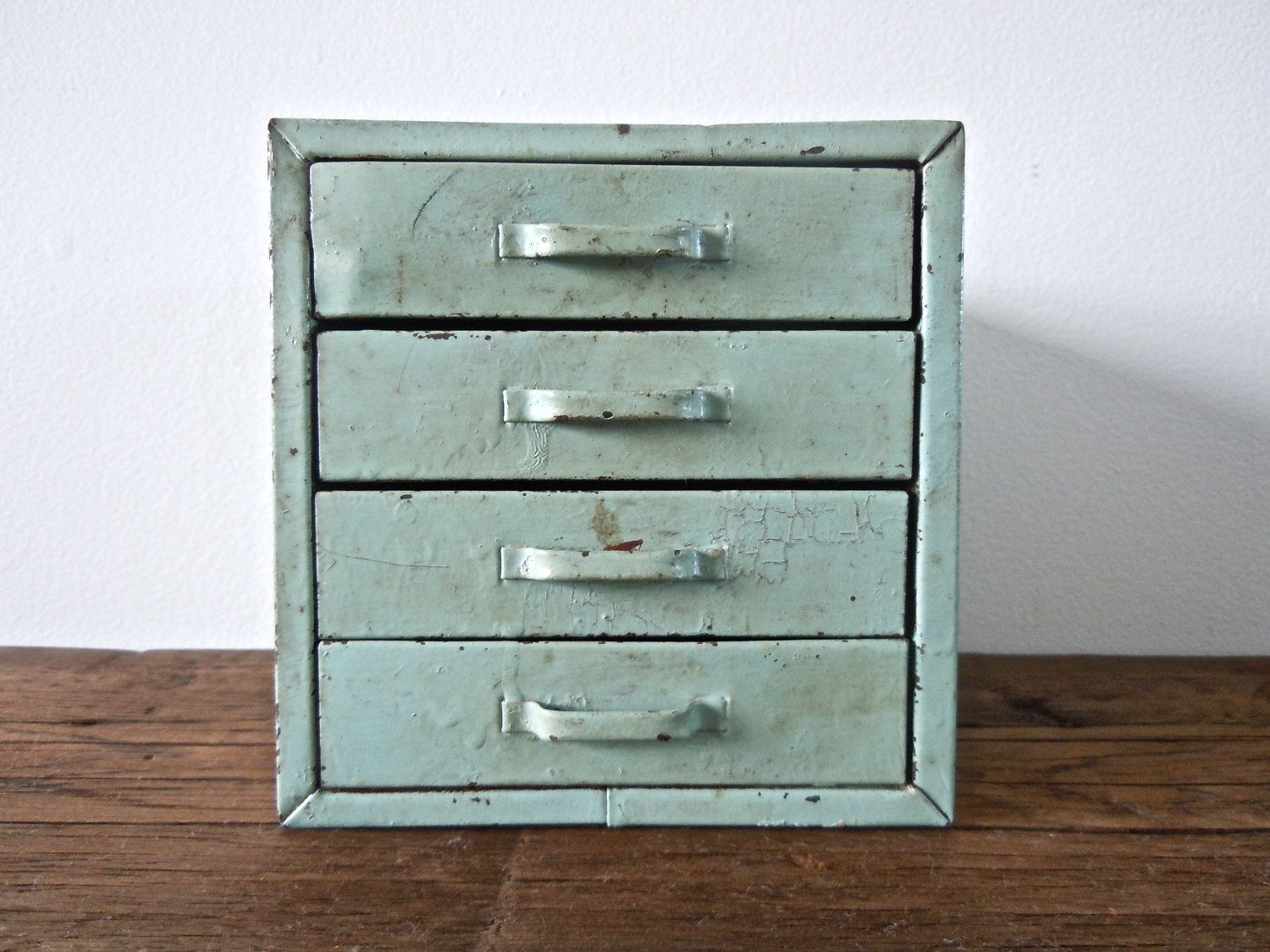 Rare Mint Green Metal Box With Drawers Desk Organizer Jewelry