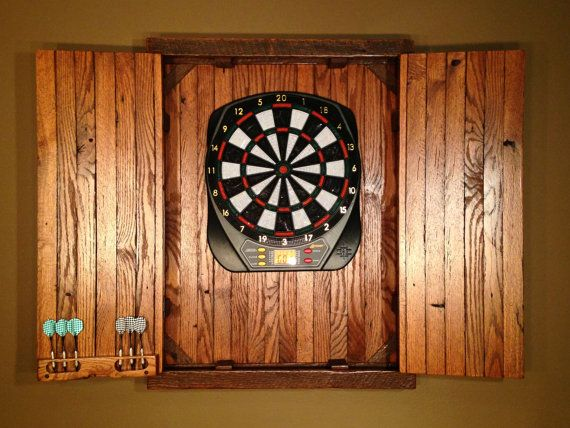 Large Electronic Rustic Dartboard Cabinet Reclaimed Barn Wood