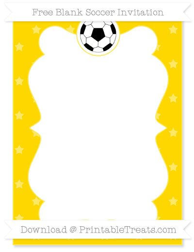 Free Goldenrod Star Pattern Blank Soccer Invitation