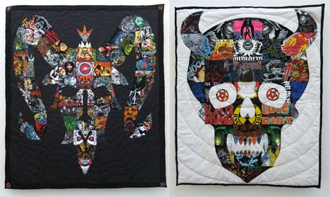 Ben Venom has the right idea turing his old band t-shirts into awe-inspiring quilts. Watch out you old punk rock shirts sitting in my drawers!