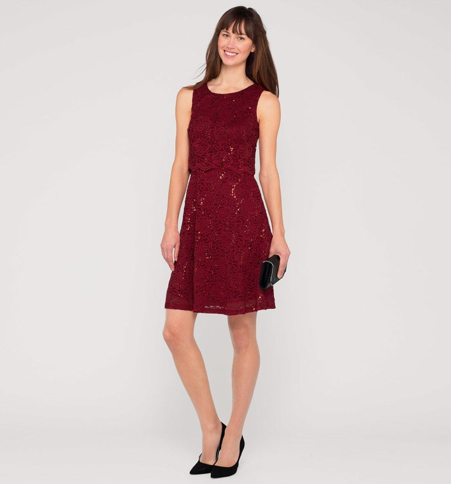 damen Ärmelloses kleid in dunkelrot - mode günstig online