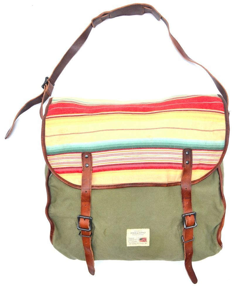 c3ebe5340342 Polo Ralph Lauren Denim   Supply Leather Canvas Messenger Shoulder Bag   RalphLauren  MessengerShoulderBag