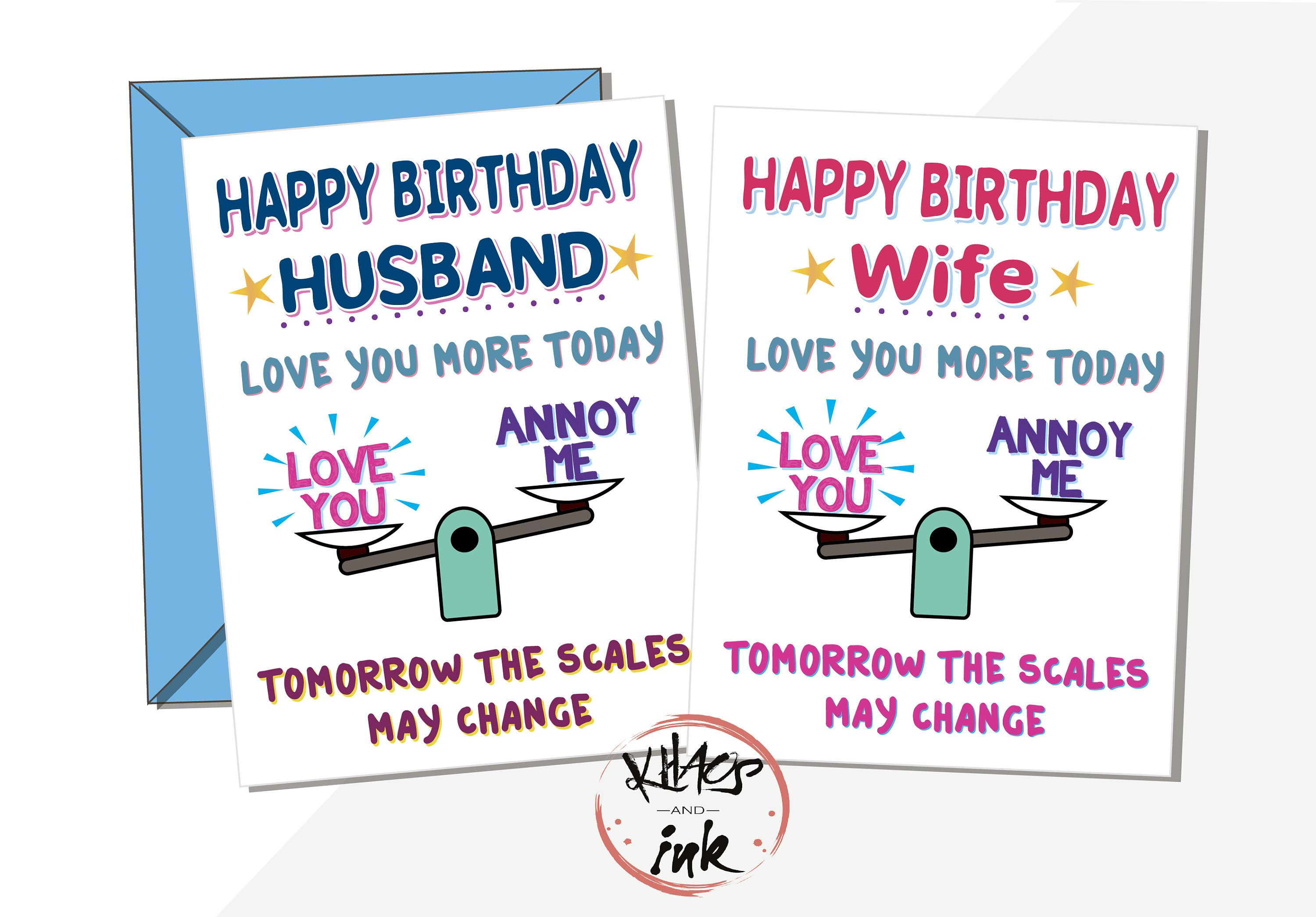 Funny Happy Birthday Card Love You More Today Tomorrow Etsy Happy Birthday Card Funny Happy Birthday Cards Birthday Cards