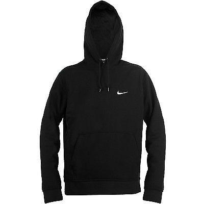 Nike Club Swoosh Hoodie Mens 611457 010 Black Fleece Pullover Hoody Size S Hoodies Hooded Sweatshirts Fleece Pullover