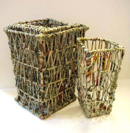 Art from waste newspaper recycled waste paper bins set for Waste material craft on paper