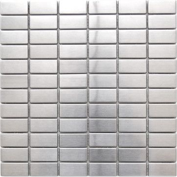 Grid Bricks Pattern Stainless Steel Mosaic Tile Contemporary