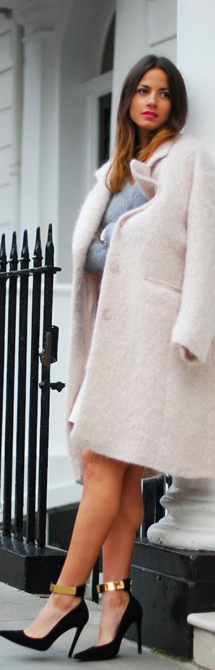 This pale pink jacket with sexy elegant heels, work well for New years smart casual dress code.