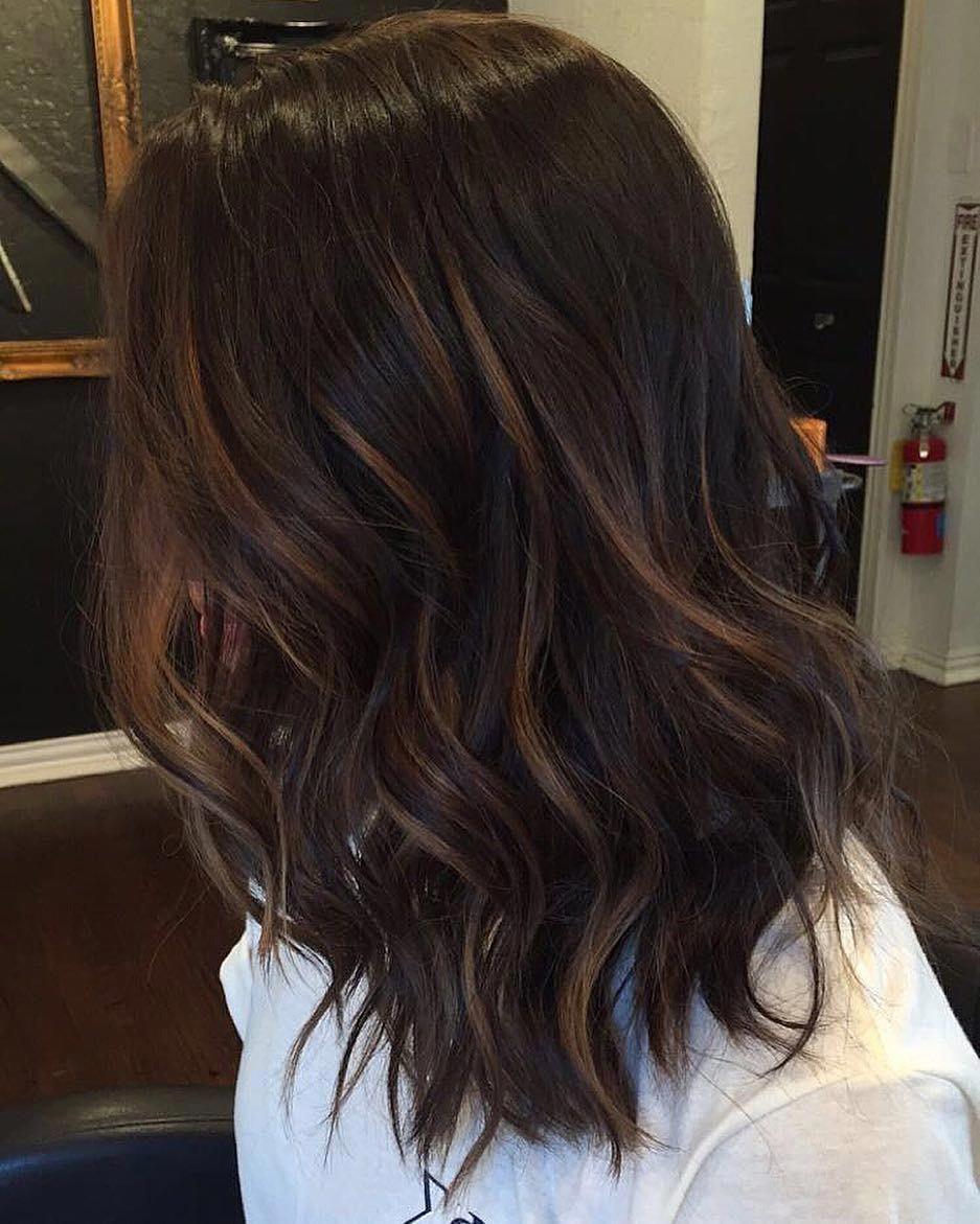 Brunette Hair with Caramel Babylights #hairhighlights #darkbrownhair