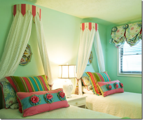 ... Marvelous Design Of The Bedroom With Light Green Ceiling And Wall And  Glass Windows And Motif Wall Nice Styles: The Terrific Little Girl Bed  Canopy