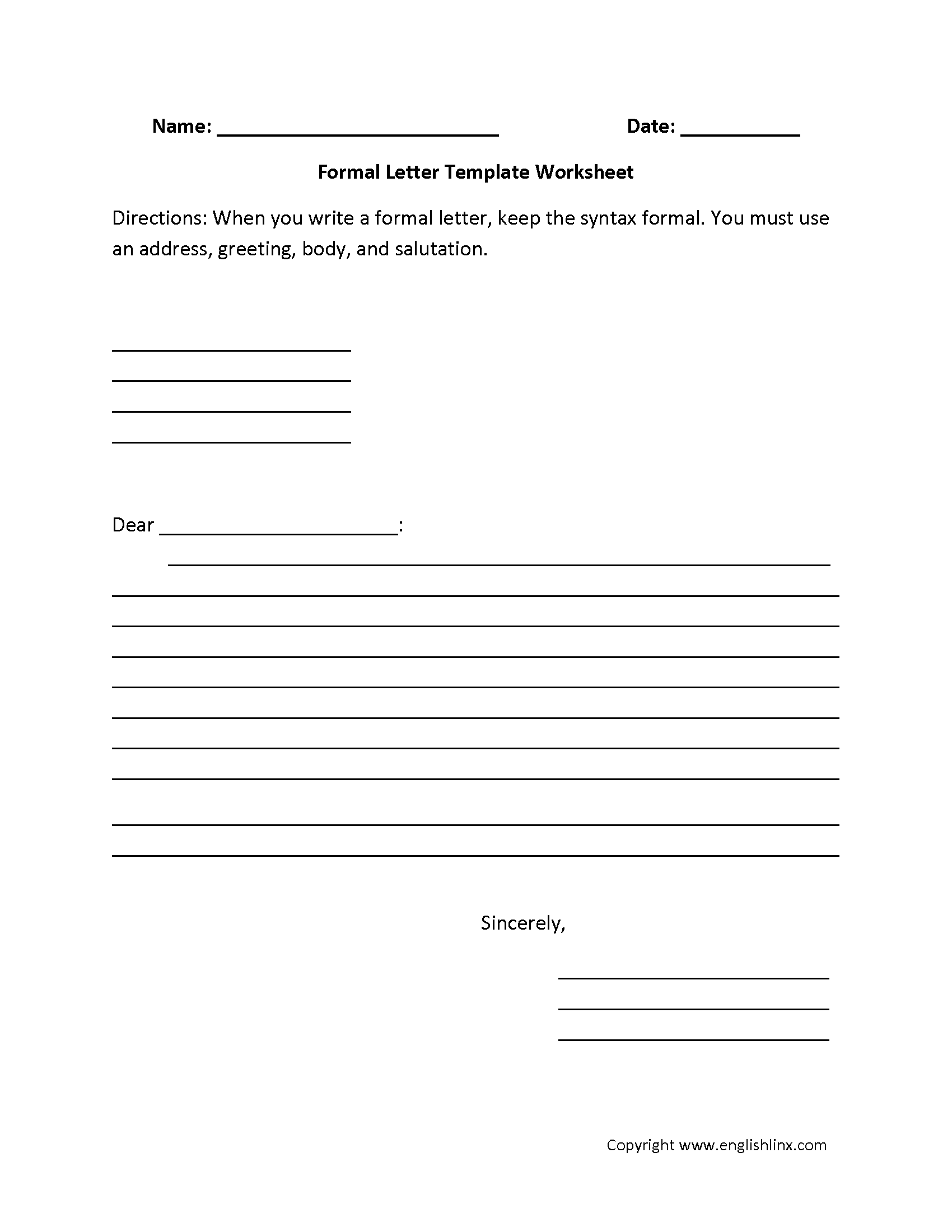 Formal Letter Writing Worksheets With Images
