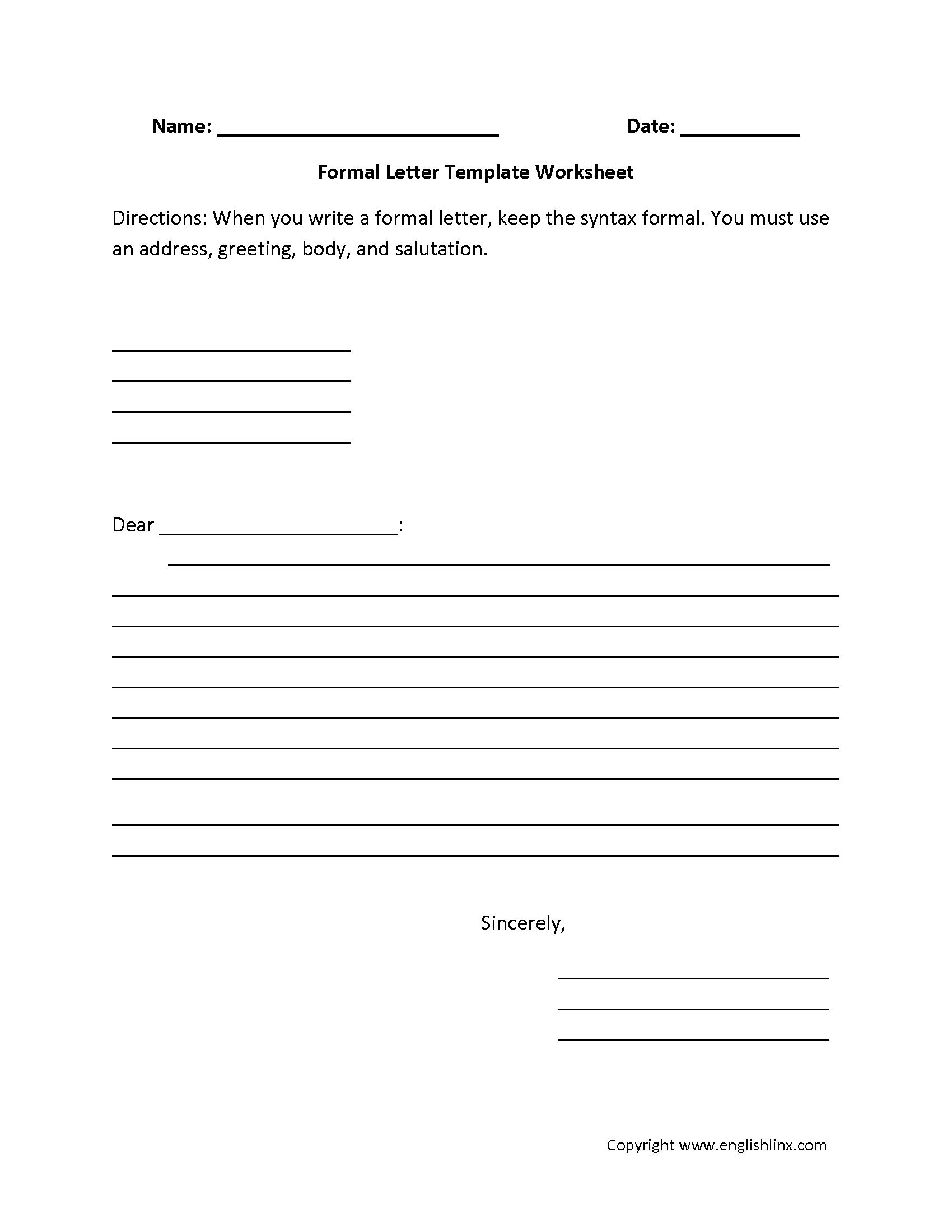 Formal Letter Writing Worksheets Letter Writing Worksheets Informal Letter Writing Writing Worksheets [ 2200 x 1700 Pixel ]