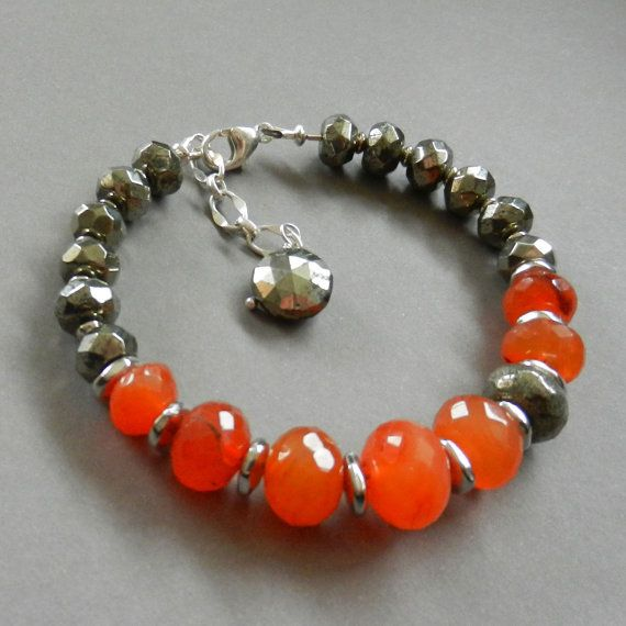 Natural CARNELIAN BEADS BRACELET Silver Handmade Carnelian Stone Bracelet