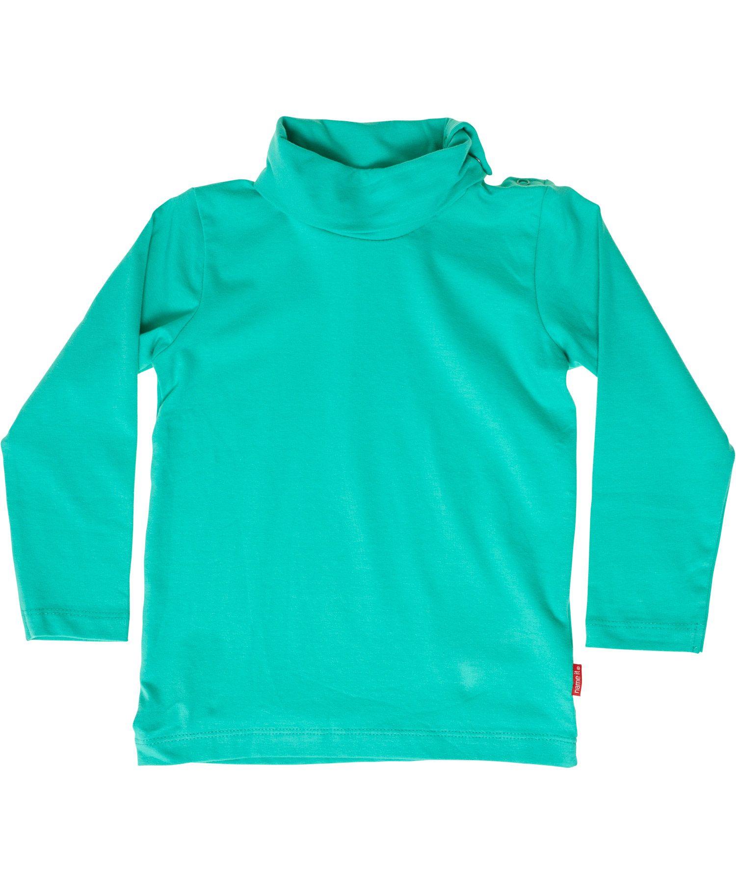 Name It muntgroene basis baby t-shirt met rolkraagje en knopjes. name-it.nl.emilea.be
