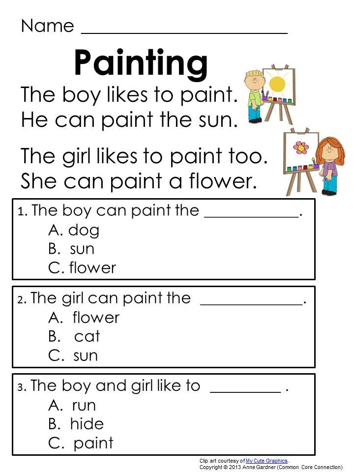 Worksheets Early Reading Worksheets very first reading comprehension passages designed to help students learn answer text based questions early in the process of lea