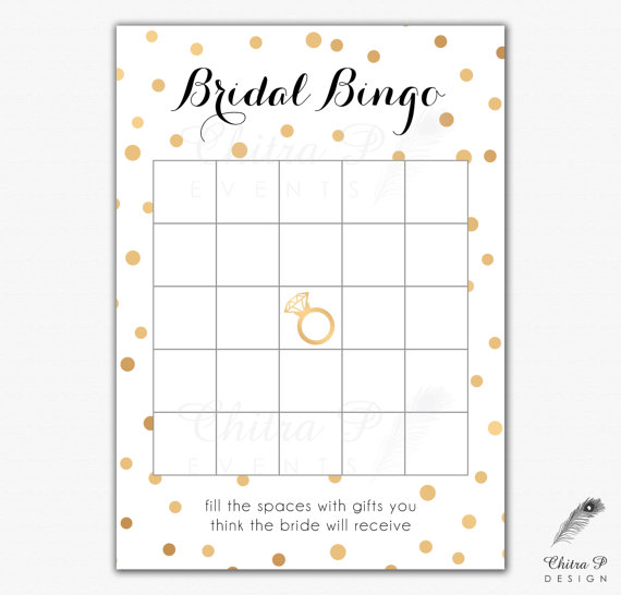 Black Gold Bridal Shower Bingo Cards