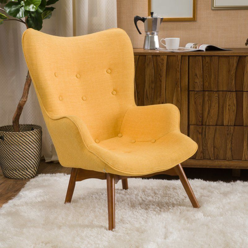 Langley Street Canyon Vista Midcentury Wingback Chair & Reviews Amusing Wing Chairs For Living Room Review