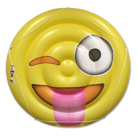 Tongue Wink Yellow Emoji Pool Raft - Inflatable Raft - Everything Emoji