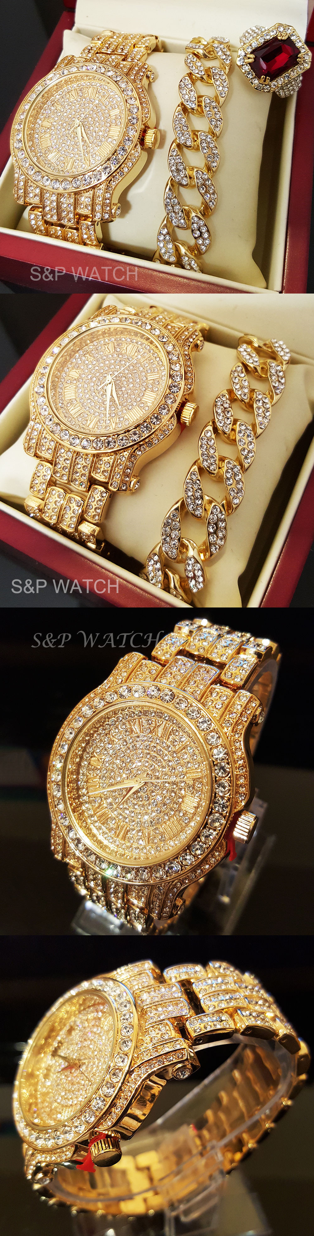 Rings men hip hop iced out gold tone best seller watch and