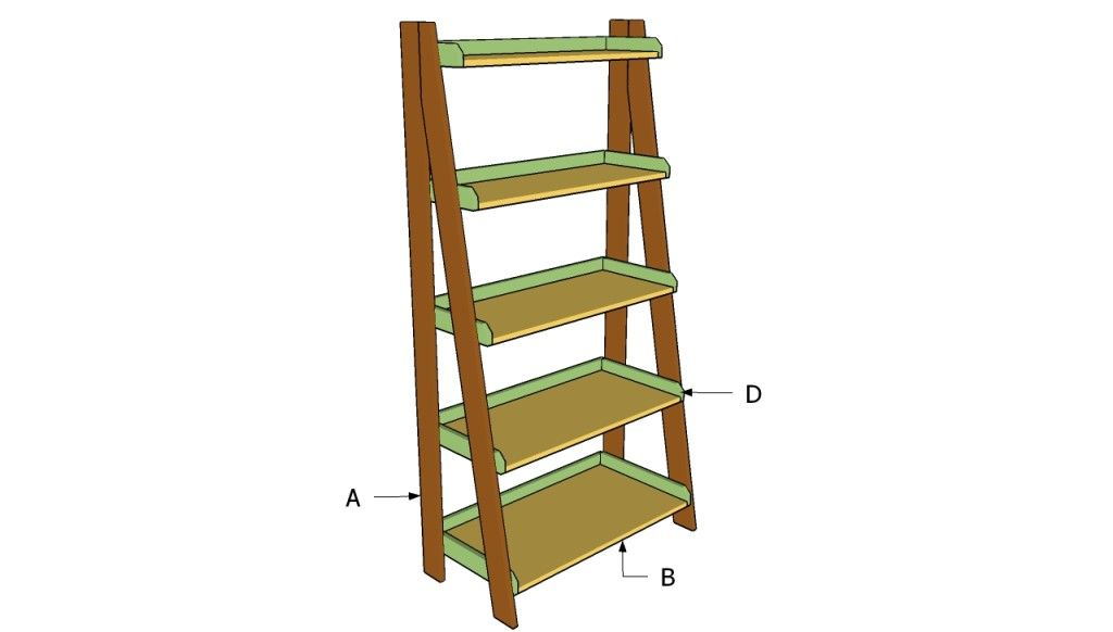 Ladder Shelves Plans Howtospecialist How To Build Step By Step Diy Plans Ladder Shelf Ladder Shelf Diy Shelves