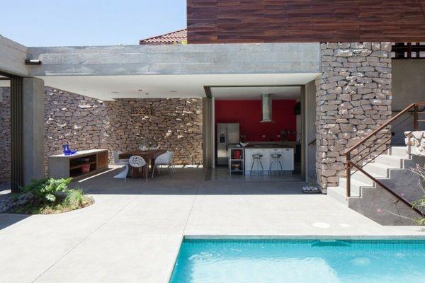 design avec la pierre et le mur du jardin méditerranéens ...
