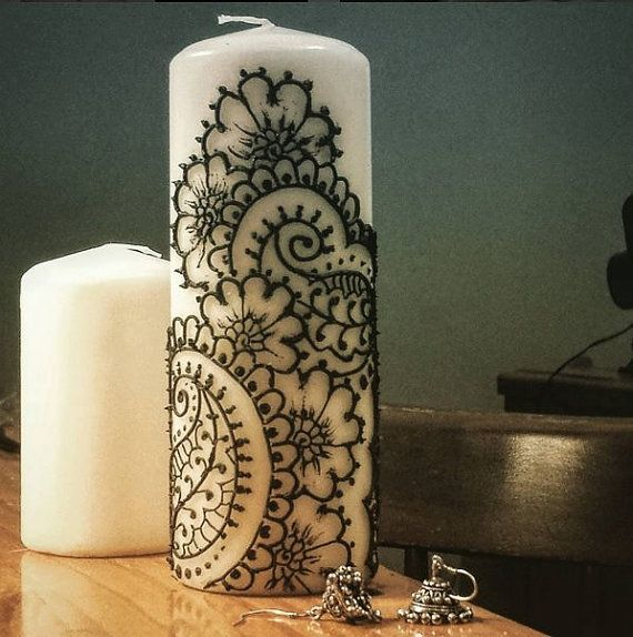 Ivory Henna Mehndi Pillar Candle by HennaLiverpool on Etsy