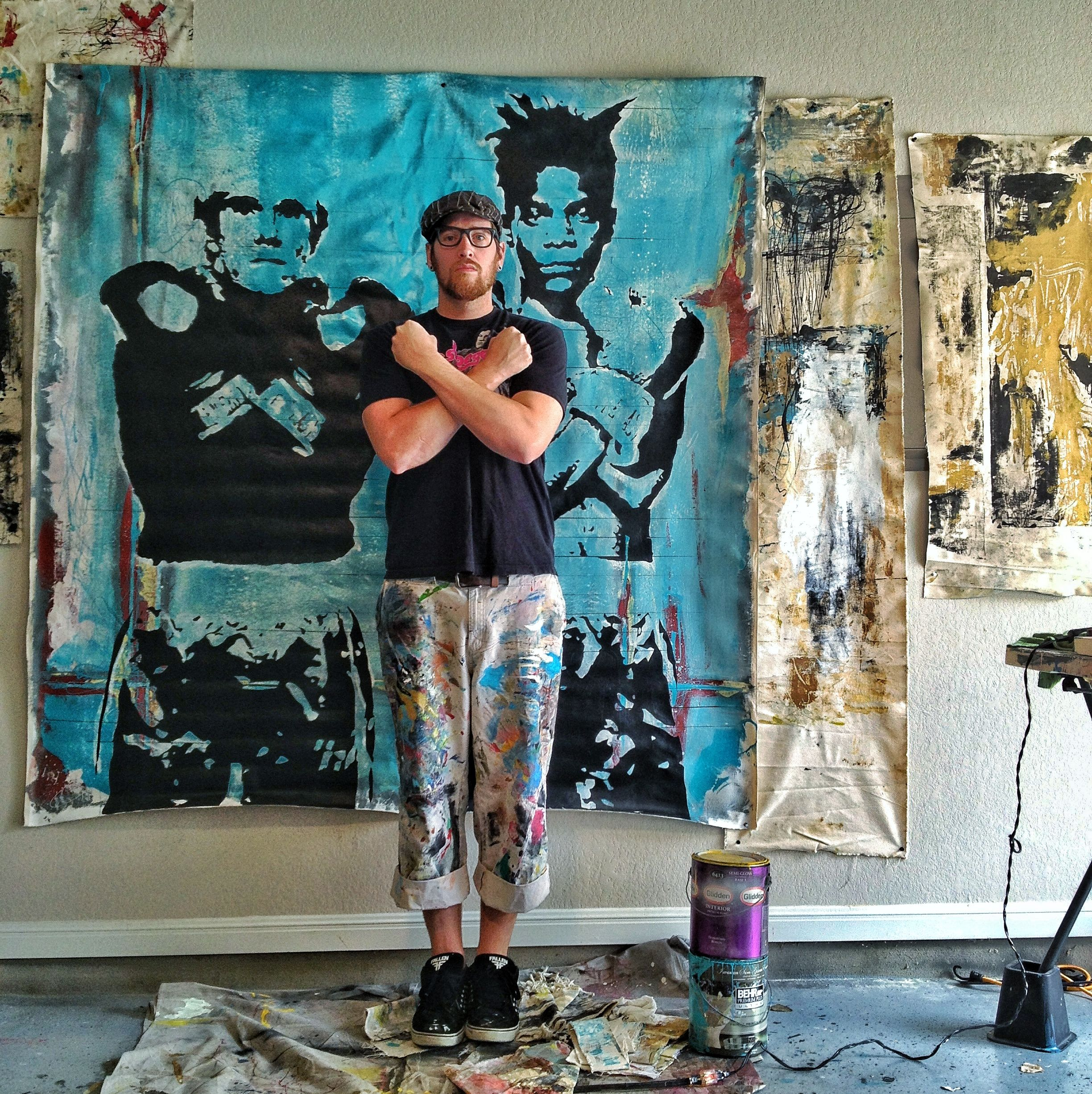 Me in my studio, getting ready to paint with a little help from Andy and Jean Michel. #basquiat #andywarhol #art #artsudio