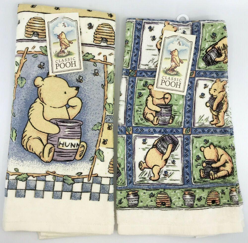 Disney Classic Winnie The Pooh Kitchen Towel X 2 New 24x15 5in