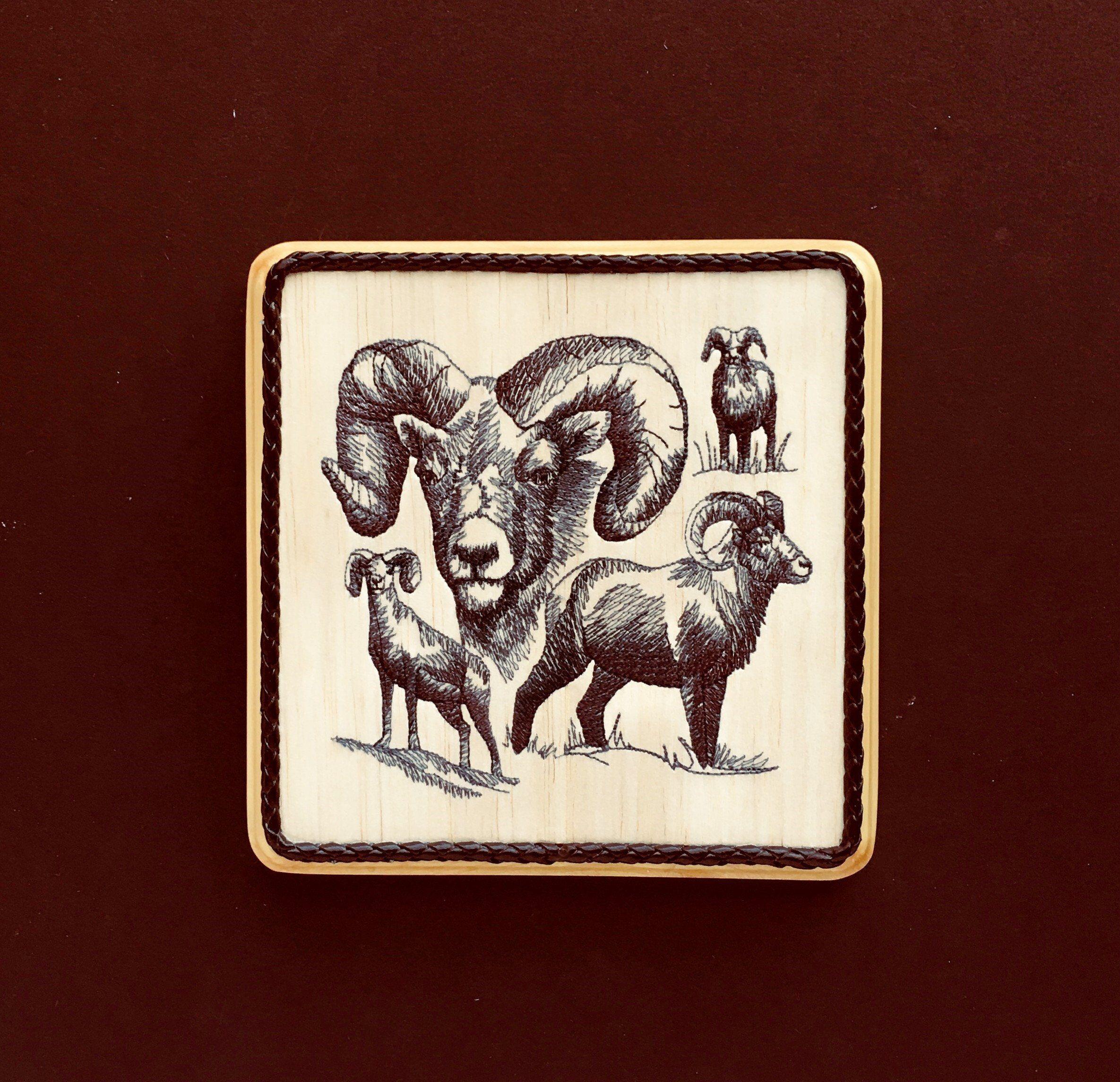 Canadian bighorn sheep balsa wood embroidery art rocky mountain