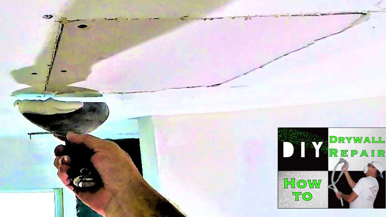 How To Repair A Drywall Ceiling Hole Fast And Easy How To Patch Drywall Drywall Ceiling Drywall Repair