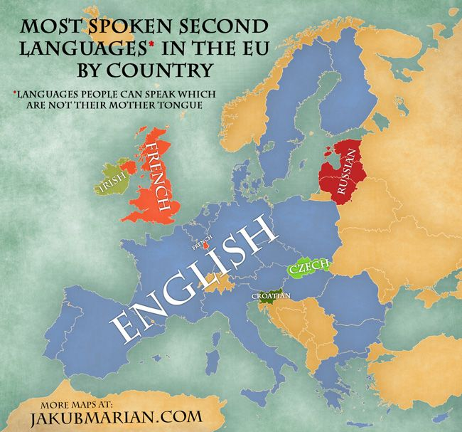 Map Of The Most Spoken Foreign Languages In The EU By Country - Widely used language in the world