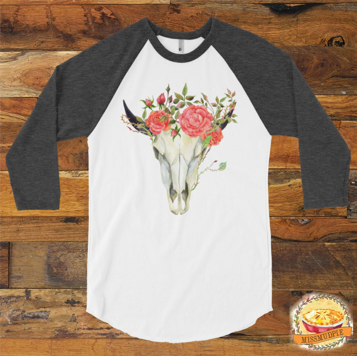 dd00af789 Bohemian Cow Skull with pink flowers raglan 3/4 arm length shirt. Perfect  for fall. Grey or Navy sleeve available. Popular for fall by missmudpie on  Etsy