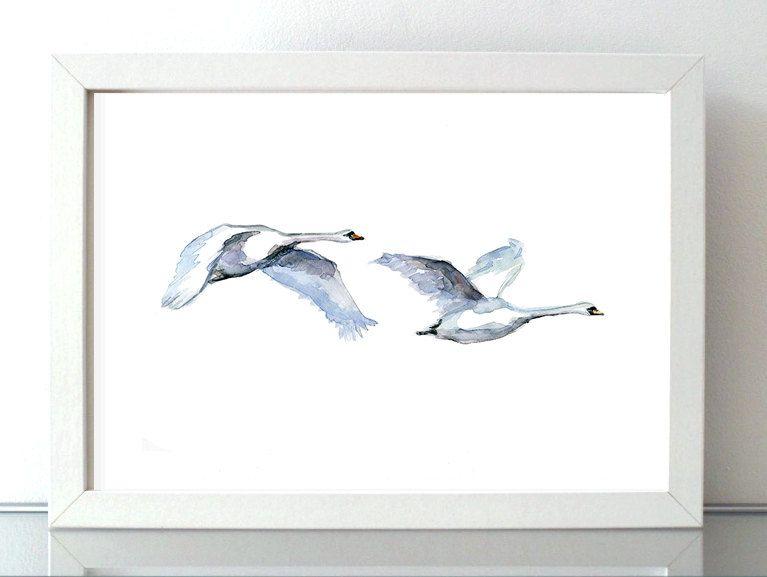 Zwanen Aquarel Zwaan schilderij Giclee print door Zendrawing