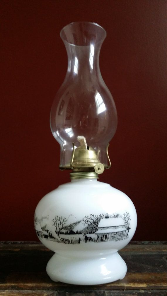 Antique Vintage Currier Ives Milk Glass Farm Pastoral Scene Decor 13 3 4 Quot Tall Oil Kerosene Lamp Lantern Light W Glass C Lantern Lights Glass Milk Glass